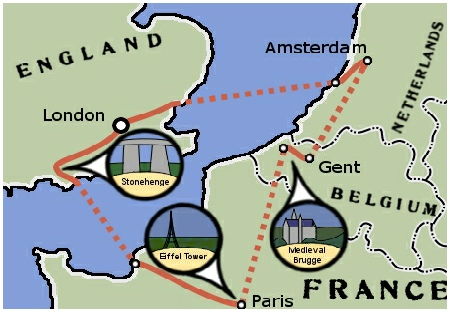 Teen Treks European Grand Tour summer camp visits England, France, Belgium, & the Netherlands during the bicycle tour